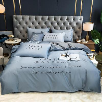 2020新款-40全棉Sweet系列四件套第二套图 床单款四件套1.5m(5英尺)床 Sweet海青+浅灰
