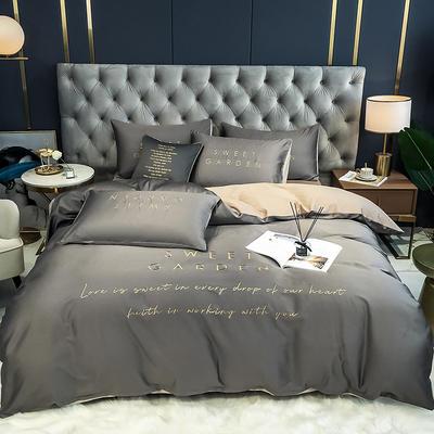 2020新款-40全棉Sweet系列四件套第二套图 床单款四件套1.5m(5英尺)床 Sweet绅士灰+米驼
