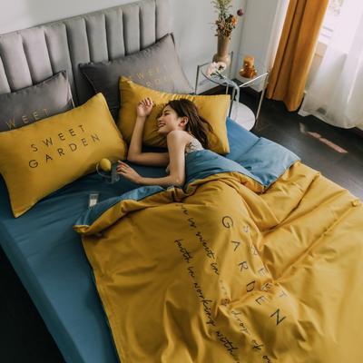2020新款-40全棉Sweet系列四件套第二套图 床单款四件套1.5m(5英尺)床 Sweet姜黄+宾利蓝