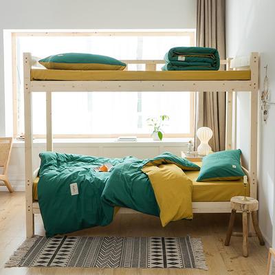 2020新款-全棉水洗棉学生季三件套 1.2m床单款三件套 墨绿杏黄