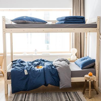 2020新款-全棉水洗棉学生季三件套 1.2m床单款三件套 牛仔蓝浅灰