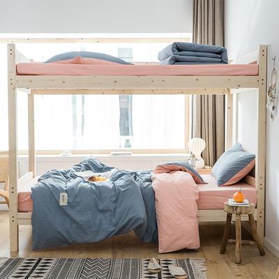 2020新款-全棉水洗棉学生季三件套 1.2m床单款三件套 浅蓝粉