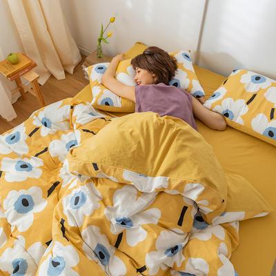 2020新款-印花水洗棉四件套 1.5m床单款四件套 樱素花开-黄