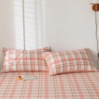 2020新款-色织水洗棉枕套 48*74cm/对 艾利斯粉