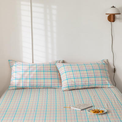 2020新款-色织水洗棉枕套 48*74cm/对 冰激凌蓝
