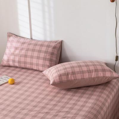 2020新款-色织水洗棉枕套 48*74cm/只 帝夫尼粉