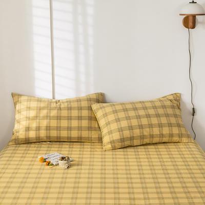 2020新款-色织水洗棉枕套 48*74cm/对 帝夫尼黄