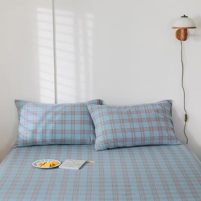 2020新款-色织水洗棉枕套 48*74cm/对 帝夫尼蓝