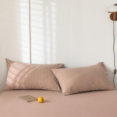 2020新款-色织水洗棉枕套 48*74cm/只 丁香粉格
