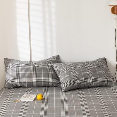 2020新款-色织水洗棉枕套 48*74cm/只 科莱尔黑