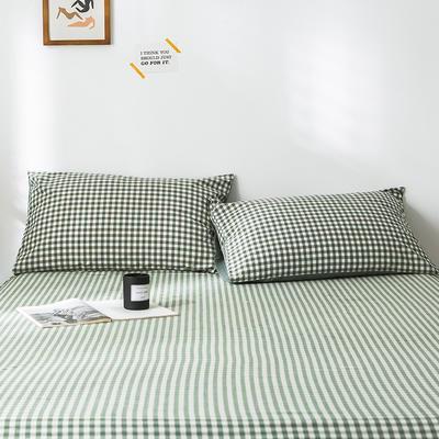 2020新款-色织水洗棉枕套 48*74cm/只 绿小格