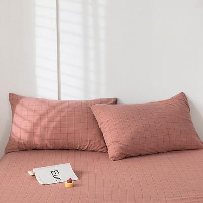2020新款-色织水洗棉枕套 48*74cm/只 马卡龙粉