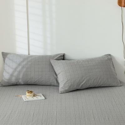 2020新款-色织水洗棉枕套 48*74cm/只 马卡龙灰