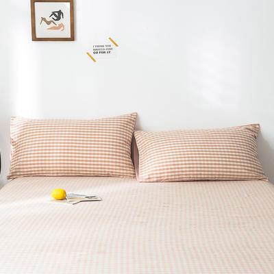 2020新款-色织水洗棉枕套 48*74cm/只 蜜粉格