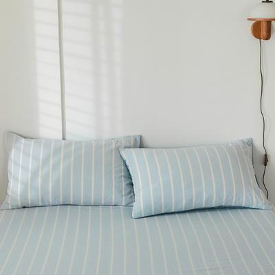 2020新款-色织水洗棉枕套 48*74cm/只 浅蓝白条