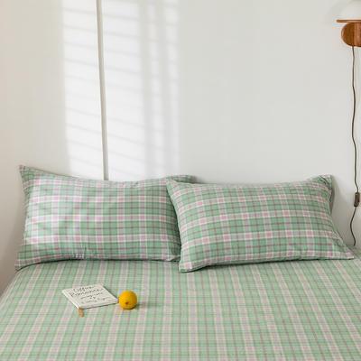 2020新款-色织水洗棉枕套 48*74cm/只 青柠格
