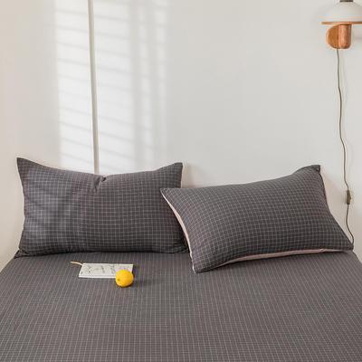 2020新款-色织水洗棉枕套 48*74cm/只 绅士灰格