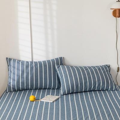 2020新款-色织水洗棉枕套 48*74cm/只 深蓝白条