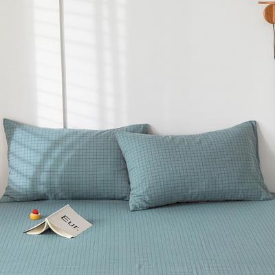 2020新款-色织水洗棉枕套 48*74cm/只 雾蓝小格