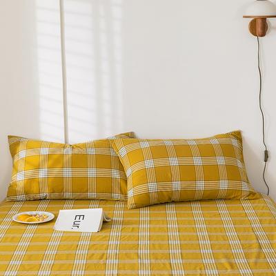 2020新款-色织水洗棉枕套 48*74cm/只 新格黄