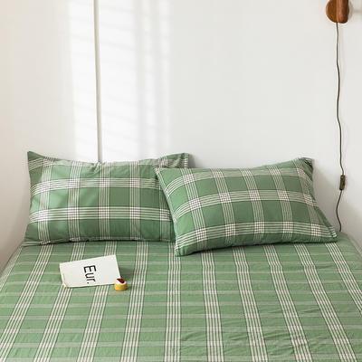 2020新款-色织水洗棉枕套 48*74cm/只 新格绿