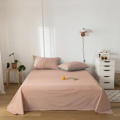 2020新款-水洗棉床单 160*230cm 丁香粉格