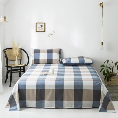 2020新款-水洗棉床单 160*230cm 蓝调格