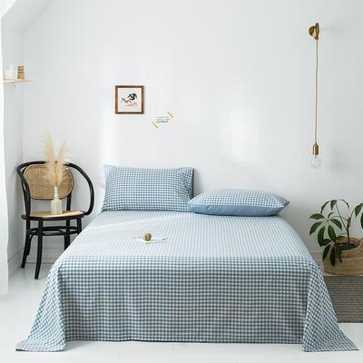 2020新款-水洗棉床单 160*230cm 蓝小格