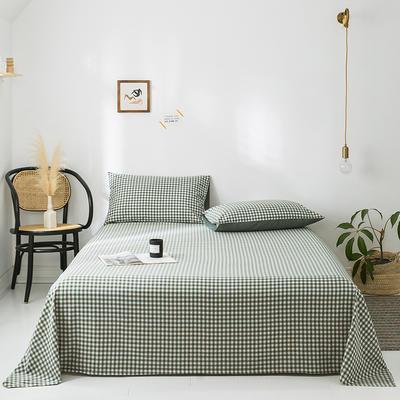 2020新款-水洗棉床单 160*230cm 绿小格