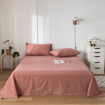 2020新款-水洗棉床单 160*230cm 马卡龙粉