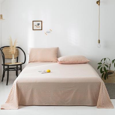 2020新款-水洗棉床单 160*230cm 蜜粉格