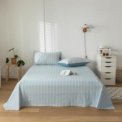 2020新款-水洗棉床单 160*230cm 浅蓝白条