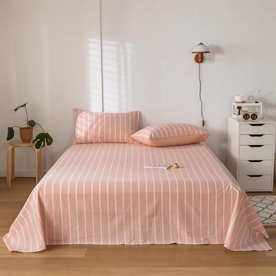 2020新款-水洗棉床单 160*230cm 浅玉白条