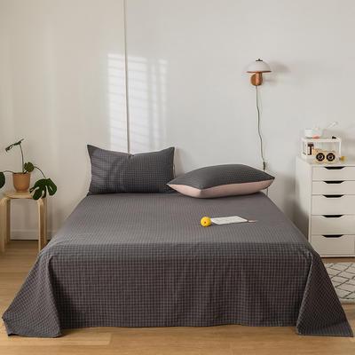 2020新款-水洗棉床单 160*230cm 绅士灰格
