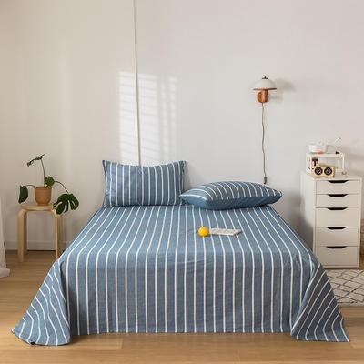 2020新款-水洗棉床单 160*230cm 深蓝白条