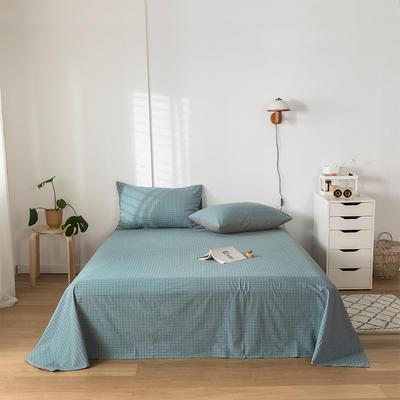 2020新款-水洗棉床单 160*230cm 雾蓝小格
