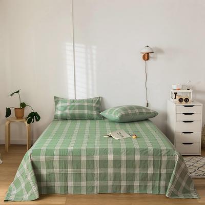 2020新款-水洗棉床单 160*230cm 新格绿