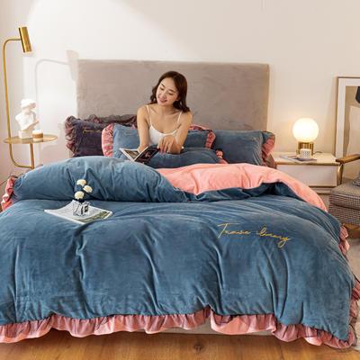 2020这款-水晶绒蕾丝边四件套 1.8m床单款四件套 绒-宾利蓝浅粉