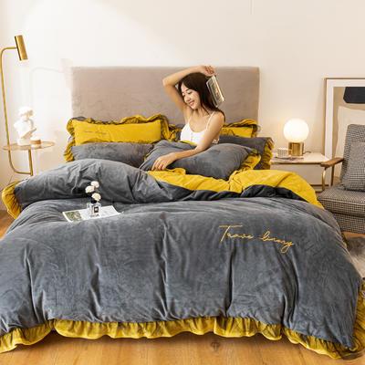 2020这款-水晶绒蕾丝边四件套 1.5m床单款四件套 绒-高级灰姜黄