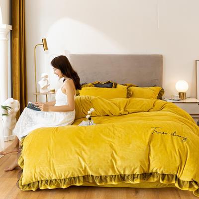 2020这款-水晶绒蕾丝边四件套 1.5m床单款四件套 绒-暖黄