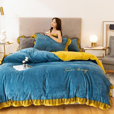 2020这款-水晶绒蕾丝边四件套 1.5m床单款四件套 绒-月光蓝姜黄