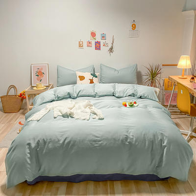 2021新款-全棉水洗棉混搭款四件套 1.5m床单款四件套 混搭-繁星蓝