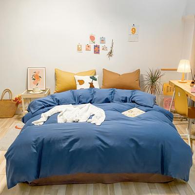 2021新款-全棉水洗棉混搭款四件套 1.5m床单款四件套 混搭-海蓝