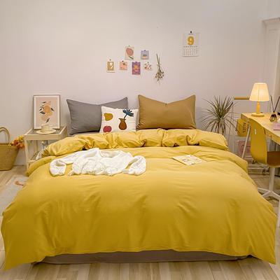 2021新款-全棉水洗棉混搭款四件套 1.5m床单款四件套 混搭-姜黄