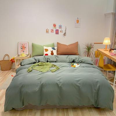 2021新款-全棉水洗棉混搭款四件套 1.5m床单款四件套 混搭-松绿