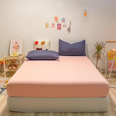 2021新款-全棉水洗棉混搭款单床笠实拍图 150cmx200cm 浅粉