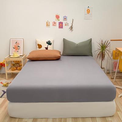 2021新款-全棉水洗棉混搭款单床笠实拍图 150cmx200cm 浅灰