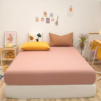 2021新款-全棉水洗棉混搭款单床笠实拍图 150cmx200cm 珊瑚红