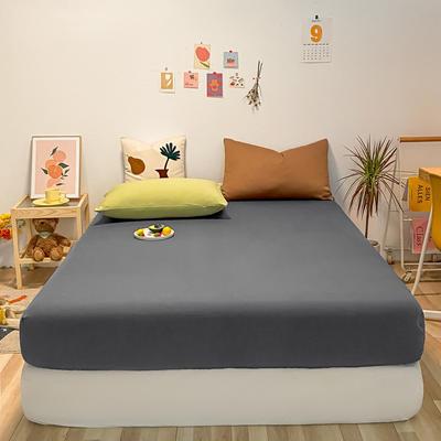 2021新款-全棉水洗棉混搭款单床笠实拍图 150cmx200cm 深灰