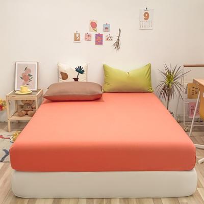 2021新款-全棉水洗棉混搭款单床笠实拍图 150cmx200cm 时尚桔